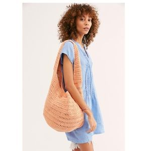Free People Anguilla Macrame Tote in peach